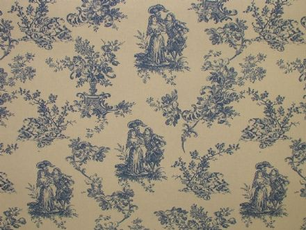 "Blue & Natural Cream ""Linen look"" Toile de Jouy  Curtain / Upholstery Fabric"